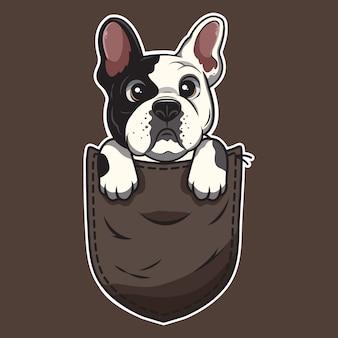 Cute cartoon dog in a pocket