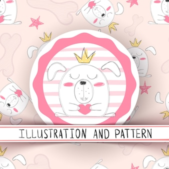 Cute cartoon dog seamless pattern
