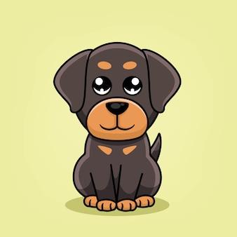 Милый мультфильм собака сидит иллюстрации