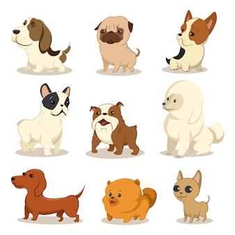 Cute cartoon dog vector set.
