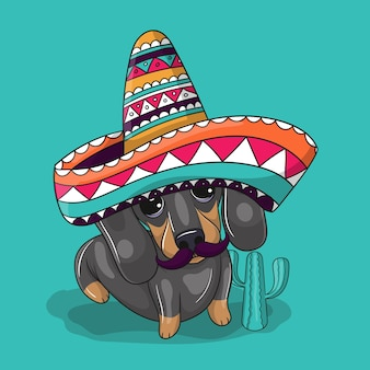 Милая мультипликационная собака в шляпе мексики. синко де майо