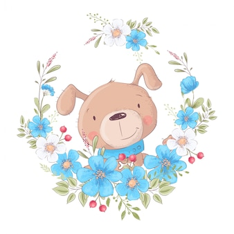 Cute cartoon dog in a wreath of flowers
