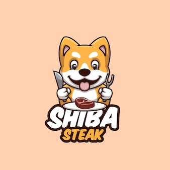 Милый мультфильм дож сиба ину стейк еда мультфильм логотип