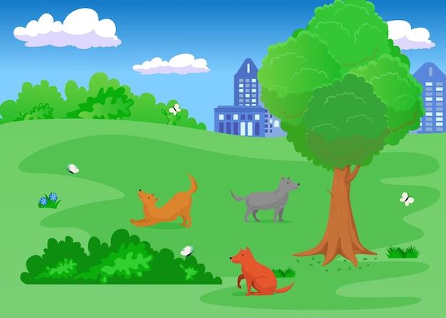 Cute cartoon dogs running after butterflies in park