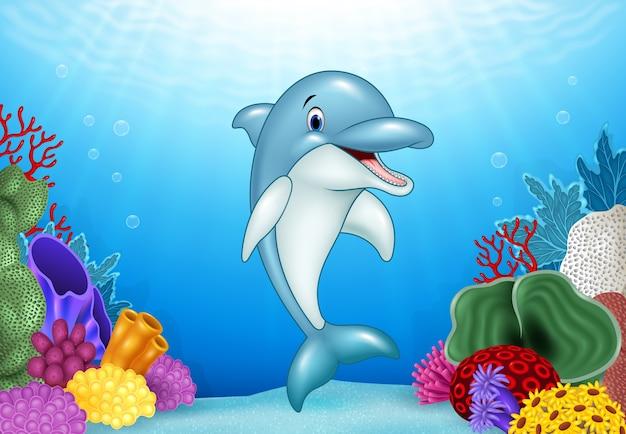 水から飛び跳ねるかわいい漫画イルカ