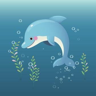 Cute cartoon dolphin swimming underwater in the blue ocean.