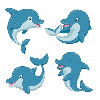 Cute cartoon dolphins set
