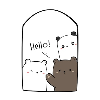 Cute cartoon doodle background with teddy bear polar bear and panda greeting at window