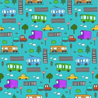 かわいい漫画落書き都市輸送シームレスパターン。公共交通機関のある明るい子供っぽい質感