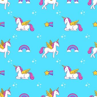 Cute cartoon doodle drawing unicorn, heart, wings and stars seamless pattern print