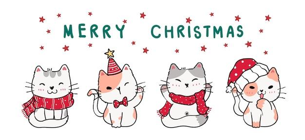 Cute cartoon doodle kitten cat banner in winter christmas costume.