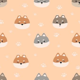 Cute cartoon doodle seamless pattern with shiba inu dog head