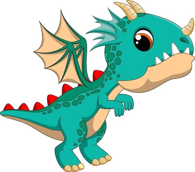 かわいい漫画のドラゴンが飛んでいます