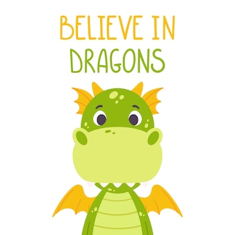 Cute cartoon dragon.