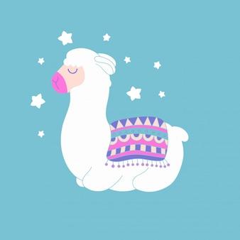 Cute cartoon dreaming llama drawing, vector animal illustration.