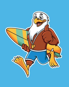 Cute cartoon eagle carrying a surfboard with a thumbs up pose.