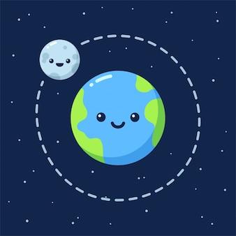 달과 귀여운 만화 지구