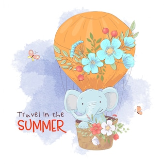 Cute cartoon elephant in a balloon with flowers.