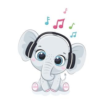 Милый мультфильм мальчик-слон в наушниках слушает музыку