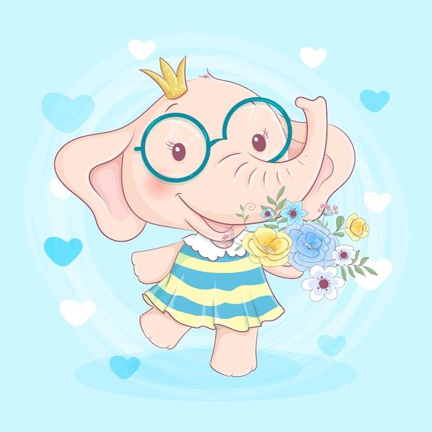 花と姫の王冠の花輪でかわいい漫画象の女の子。