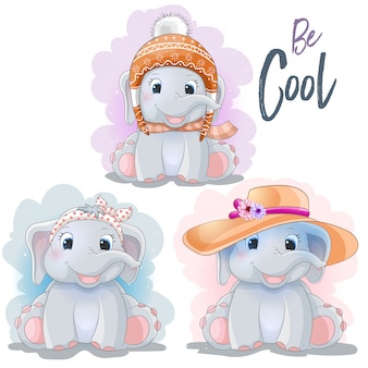 Cute cartoon elephant in a hat and a bandana
