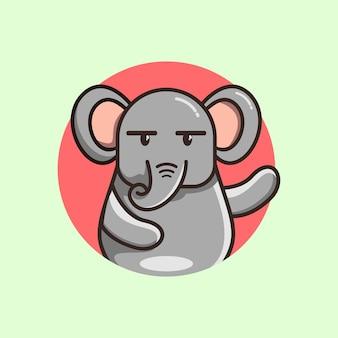 Симпатичная мультяшная иллюстрация слона премиум векторы