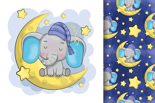 Cute cartoon elephant is sleeping on the moon