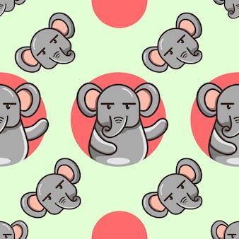 귀여운 만화 코끼리 패턴 프리미엄 벡터