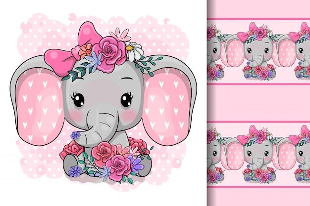 Cute cartoon elephant with flowers
