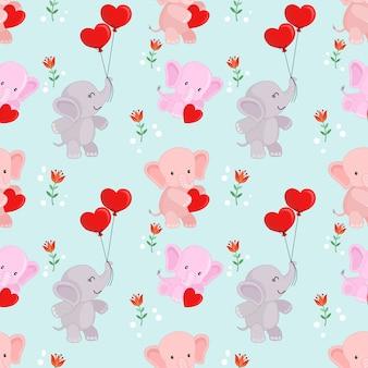 Cute cartoon elephant with heart shape balloon pattern.