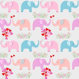 Cute cartoon elephant with heart shape balloon seamless pattern.