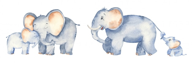 Cute cartoon elephants dad, mom and baby