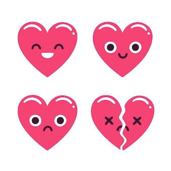 귀여운 만화 이모티콘 하트 세트, 행복하고 슬프고 깨진. 현대 평면 스타일 심장 그림입니다.