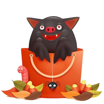 Cute cartoon emotional bat character sitting in sale bag. halloween composition