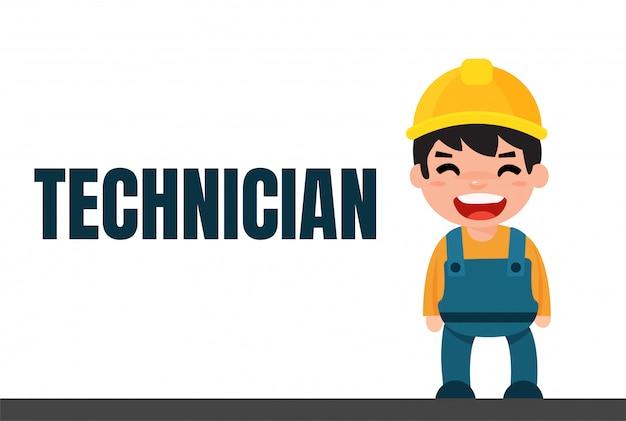 Cute cartoon engineer and technician.