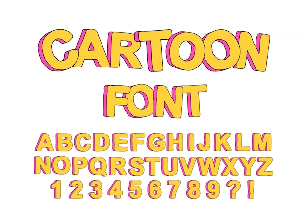 Cute cartoon english font for the  of children's parties, to create a  prints and typography.