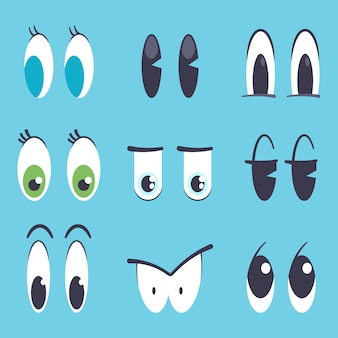 Cute cartoon eyes vector flat set isolated on blue background.