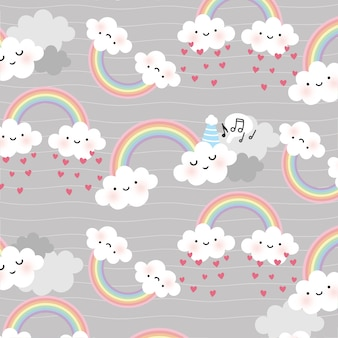 Cute cartoon face cloud vector seamless pattern
