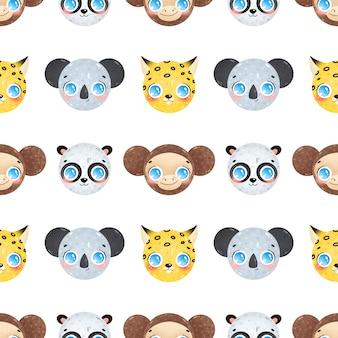 Cute cartoon faces of jungle animals seamless pattern. koala, panda, leopard, monkey seamless pattern.