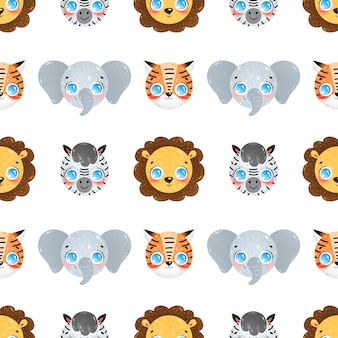 Cute cartoon faces of tropical animals seamless pattern. lion, elephant, zebra, tiger seamless pattern.