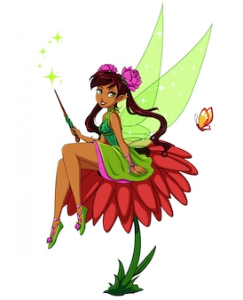 Cute cartoon fairy sitting on flower. girl with brown ponytails wearing green dress. hand drawn vector illustration.