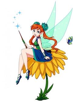 花の上に座ってかわいい漫画の妖精。緑のドレスを着ている茶色のポニーテールの女の子。手描きイラスト。白い背景で隔離されました。