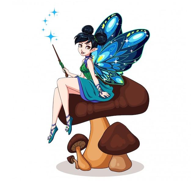 花の上に座って蝶の羽を持つかわいい漫画の妖精。青いドレスを着ている黒いパンを持つ少女。手描きイラスト。子供のモバイルゲーム、本などに使用できます。