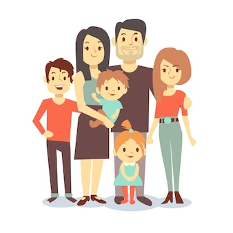 Cute cartoon family mom and dad, vector characters family in casual clothes, father and mother with