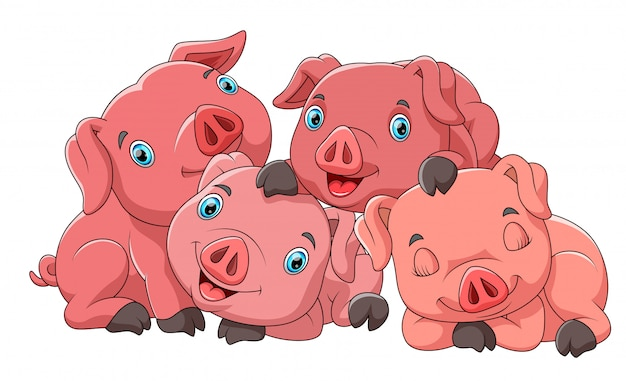 Cute cartoon family of pig