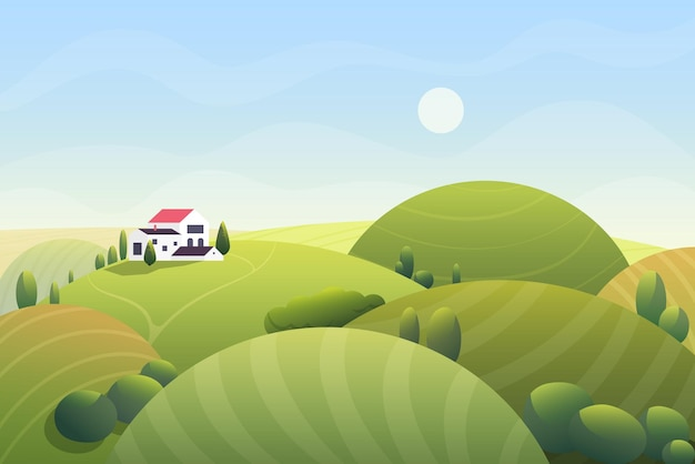 Cute cartoon fantasy summer sunny day with curvy rounded hills and beatuful rural small house