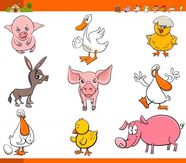Cute cartoon farm animal characters set