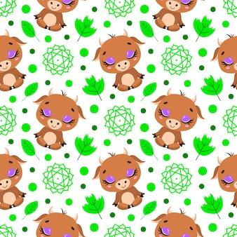 かわいい漫画の農場の動物瞑想のシームレスなパターン。ヨガの動物柄。ブルはパターンを瞑想します。