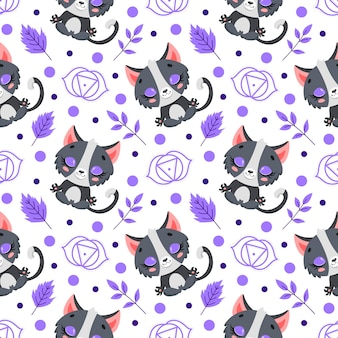 かわいい漫画の農場の動物瞑想のシームレスなパターン。ヨガの動物柄。猫はパターンを瞑想します。