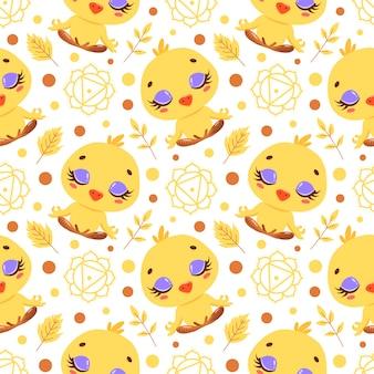 かわいい漫画の農場の動物瞑想のシームレスなパターン。ヨガの動物柄。鶏はパターンを瞑想します。